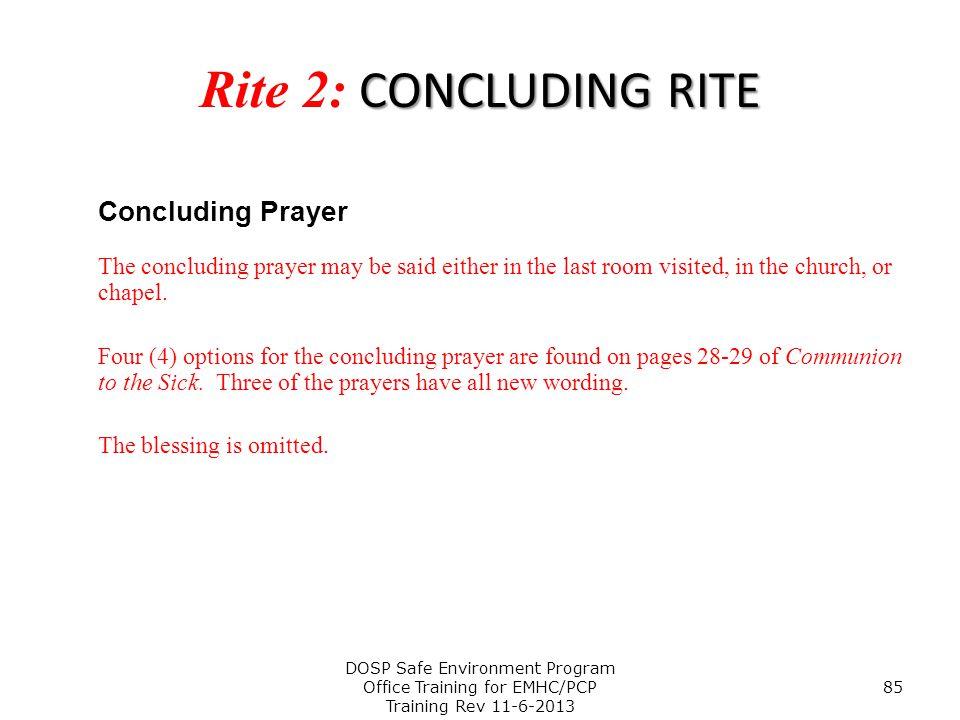 Rite 2: CONCLUDING RITE Concluding Prayer