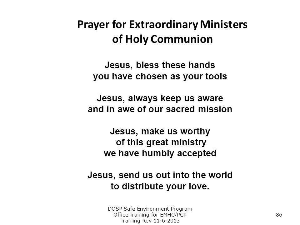Prayer for Extraordinary Ministers of Holy Communion
