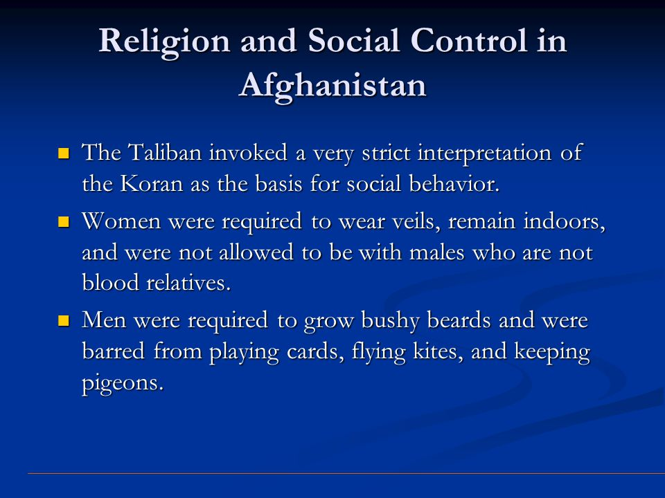 Religion and Social Control in Afghanistan