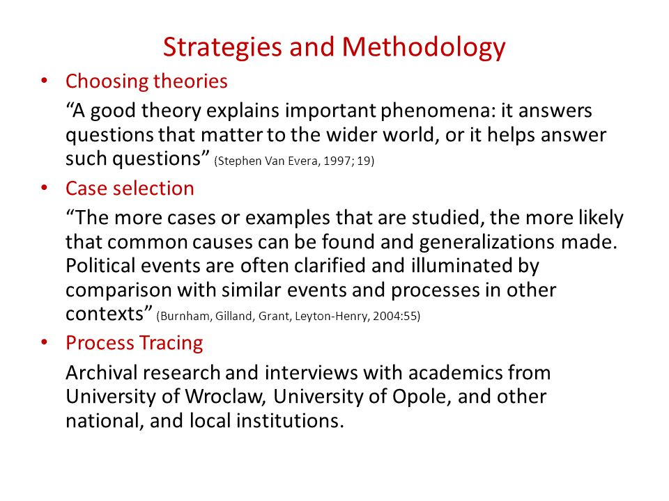 Strategies and Methodology