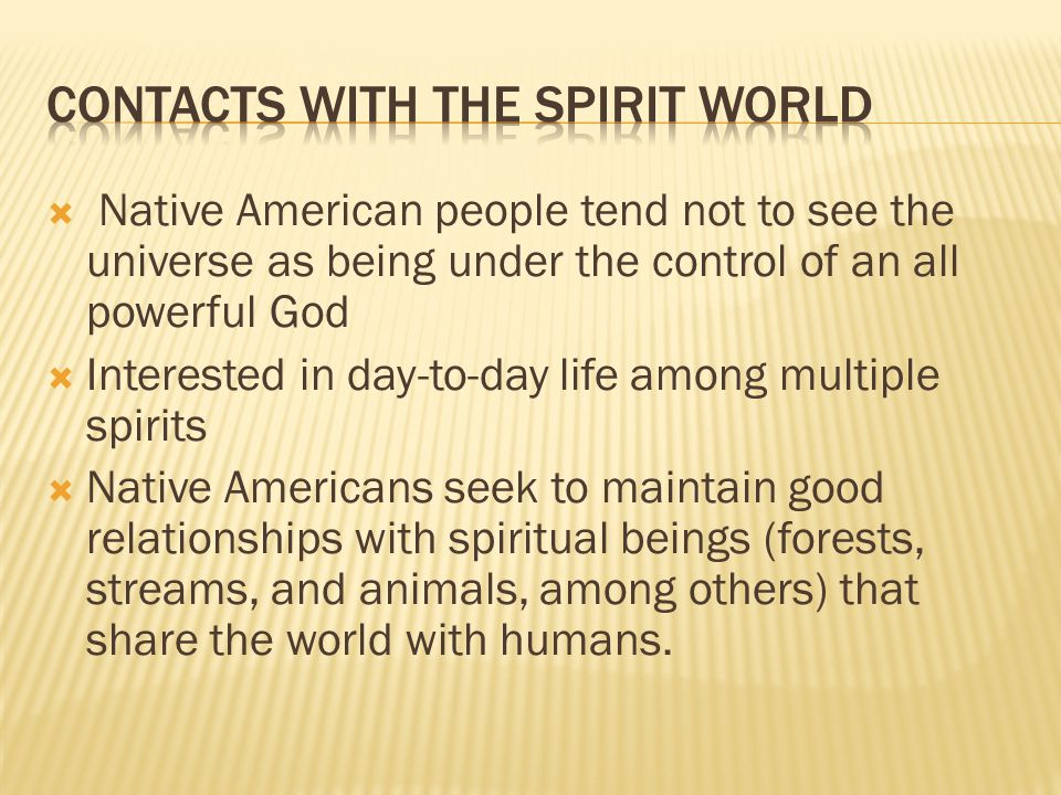 Contacts with the spirit world