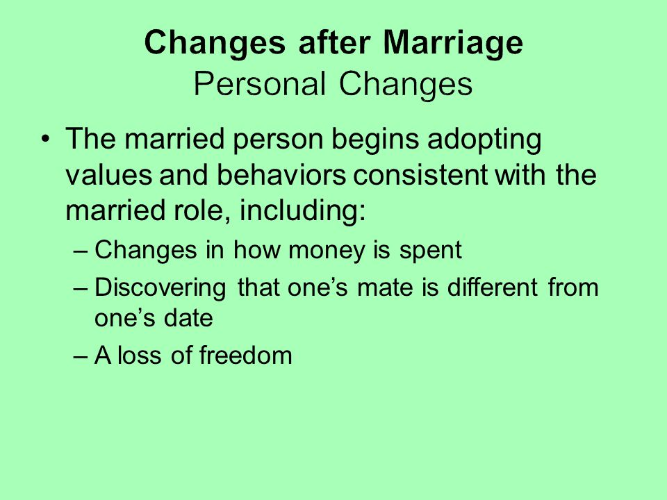 Changes after Marriage Personal Changes