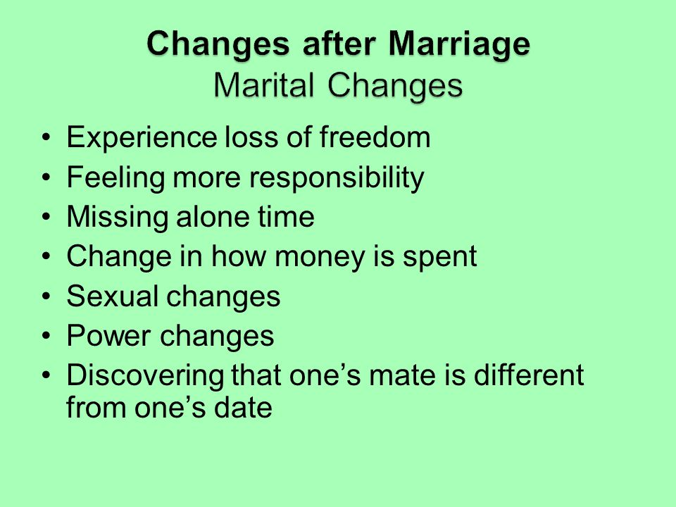 Changes after Marriage Marital Changes
