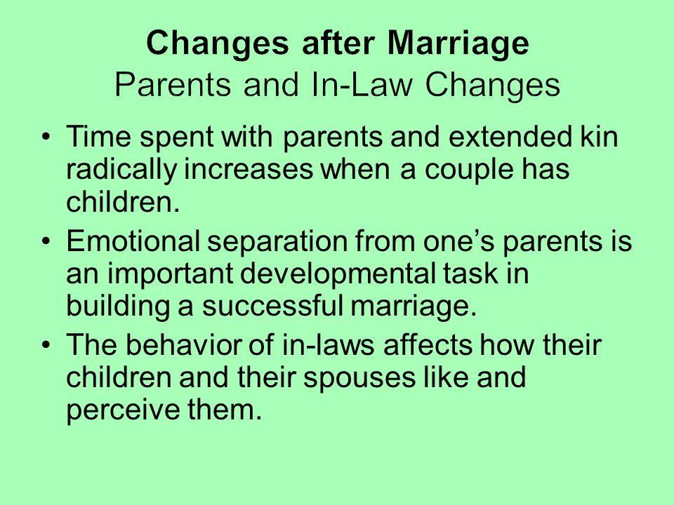 Changes after Marriage Parents and In-Law Changes
