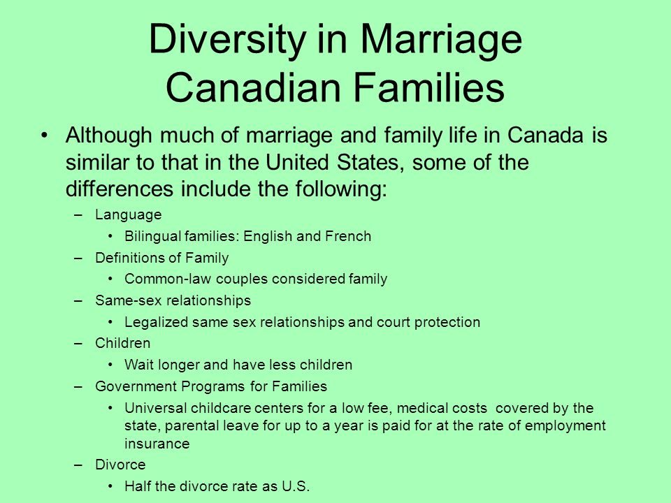 Diversity in Marriage Canadian Families