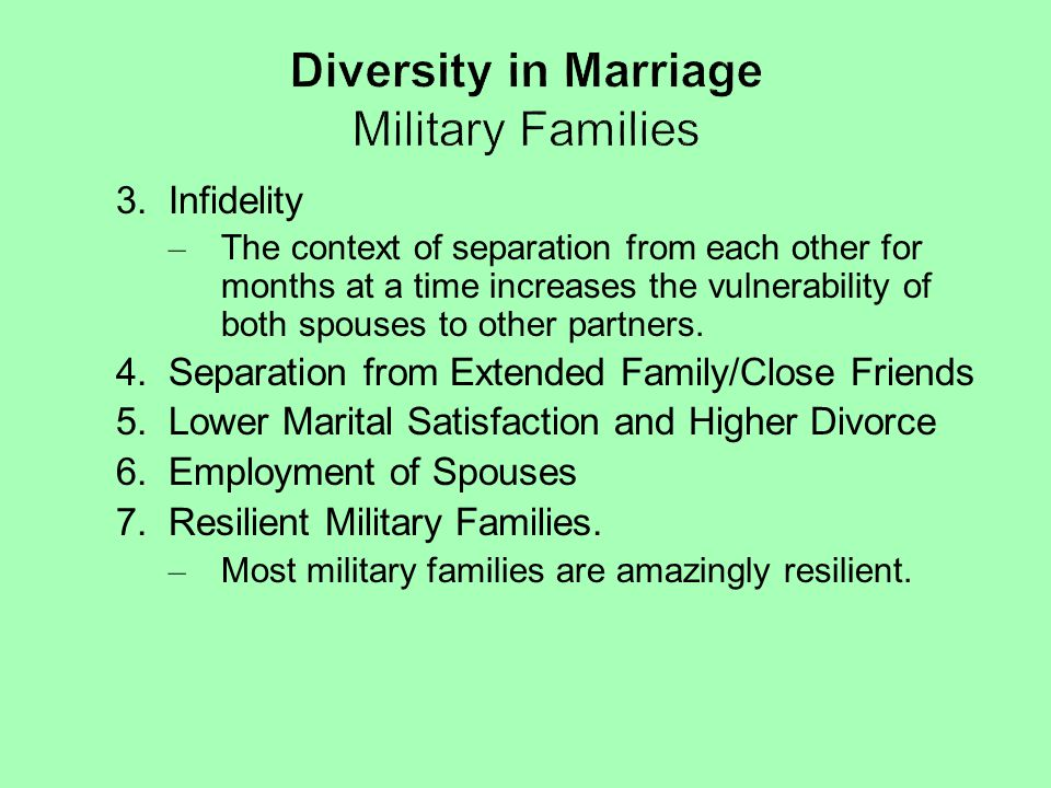 Diversity in Marriage Military Families