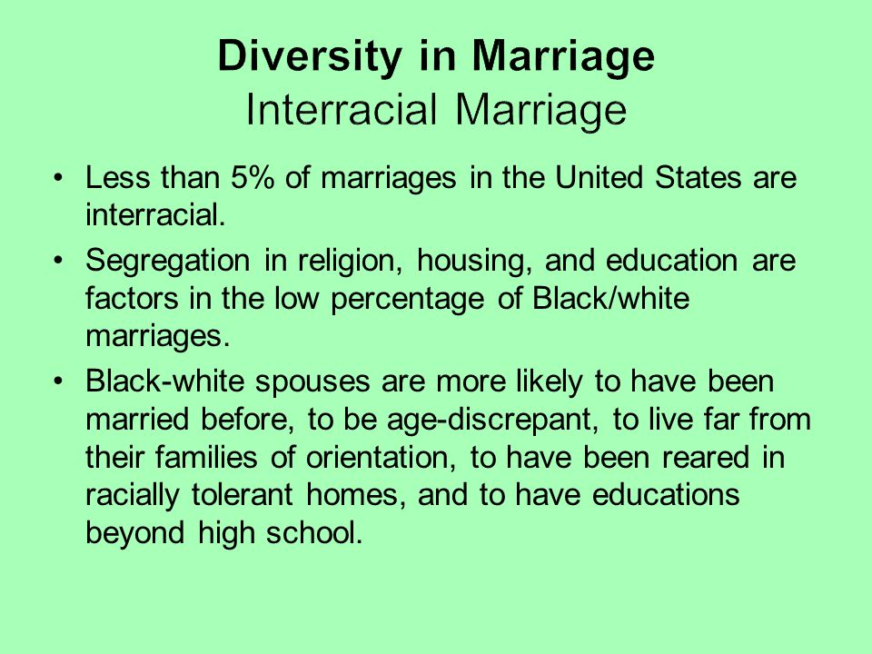 Diversity in Marriage Interracial Marriage