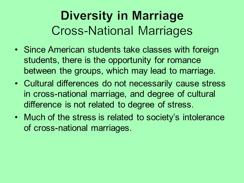 Diversity in Marriage Cross-National Marriages