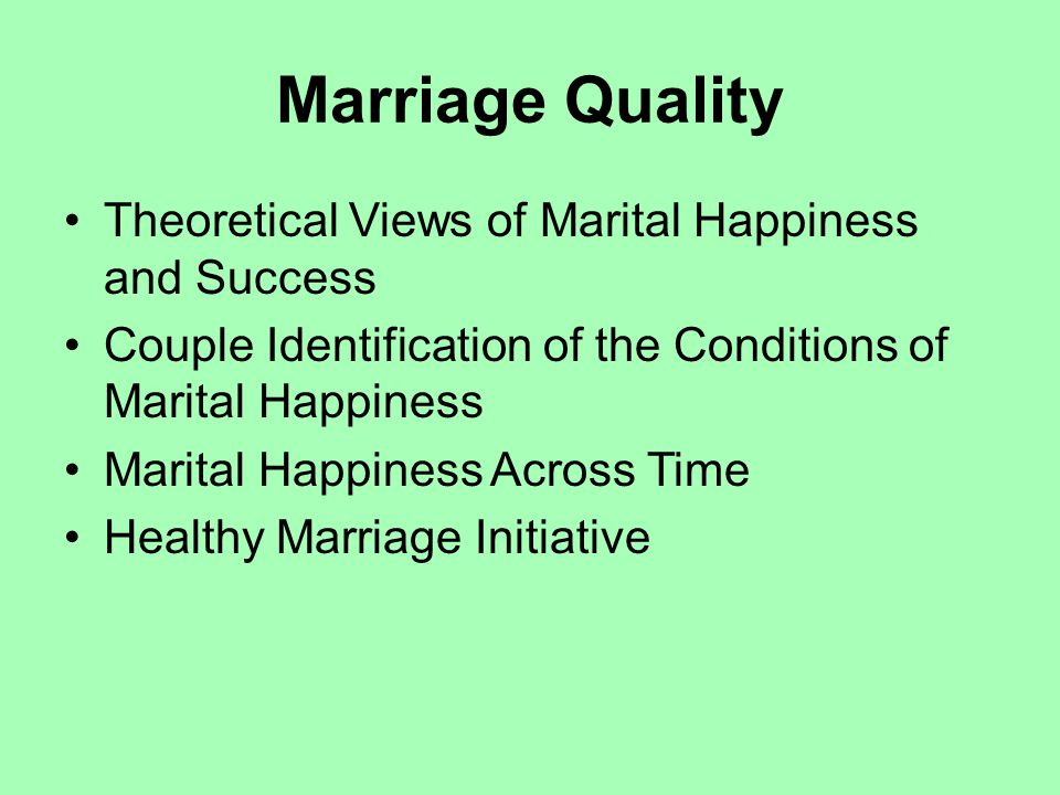 Marriage Quality Theoretical Views of Marital Happiness and Success