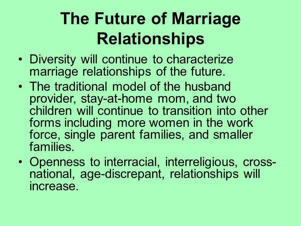 The Future of Marriage Relationships