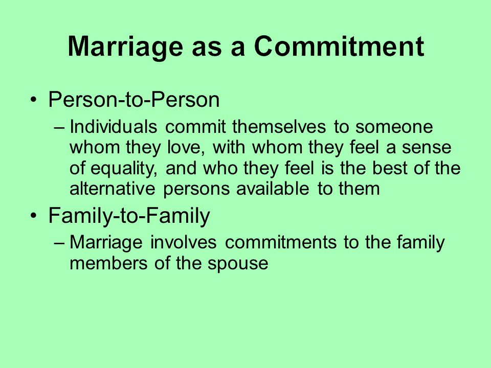 Marriage as a Commitment