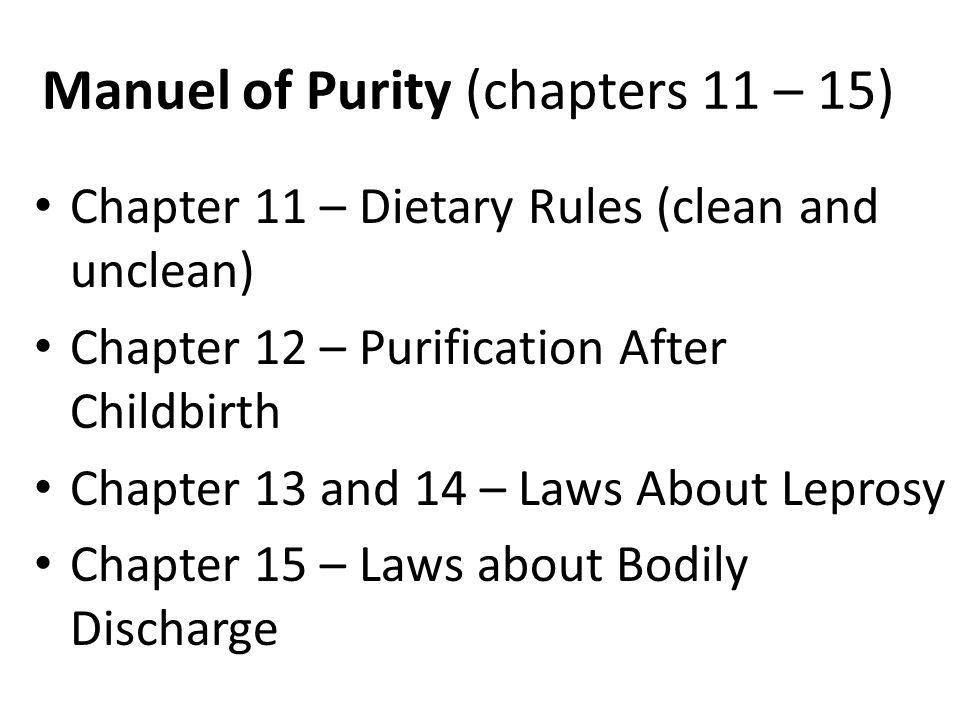 Manuel of Purity (chapters 11 – 15)