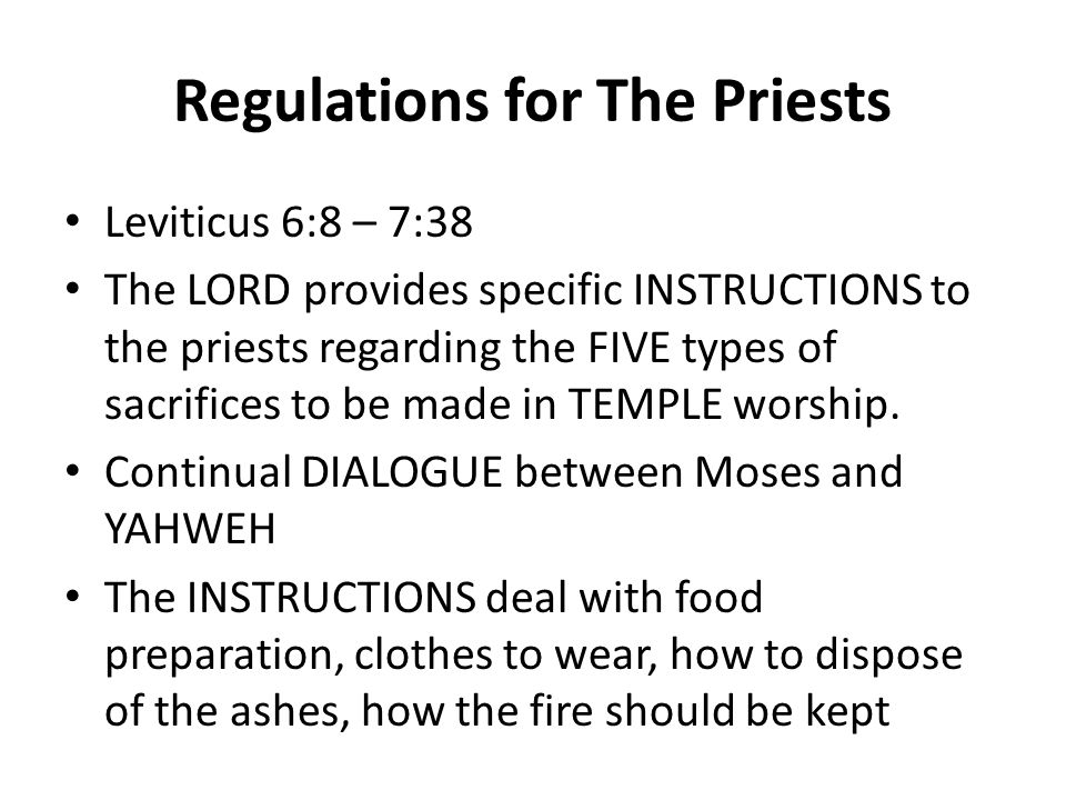 Regulations for The Priests