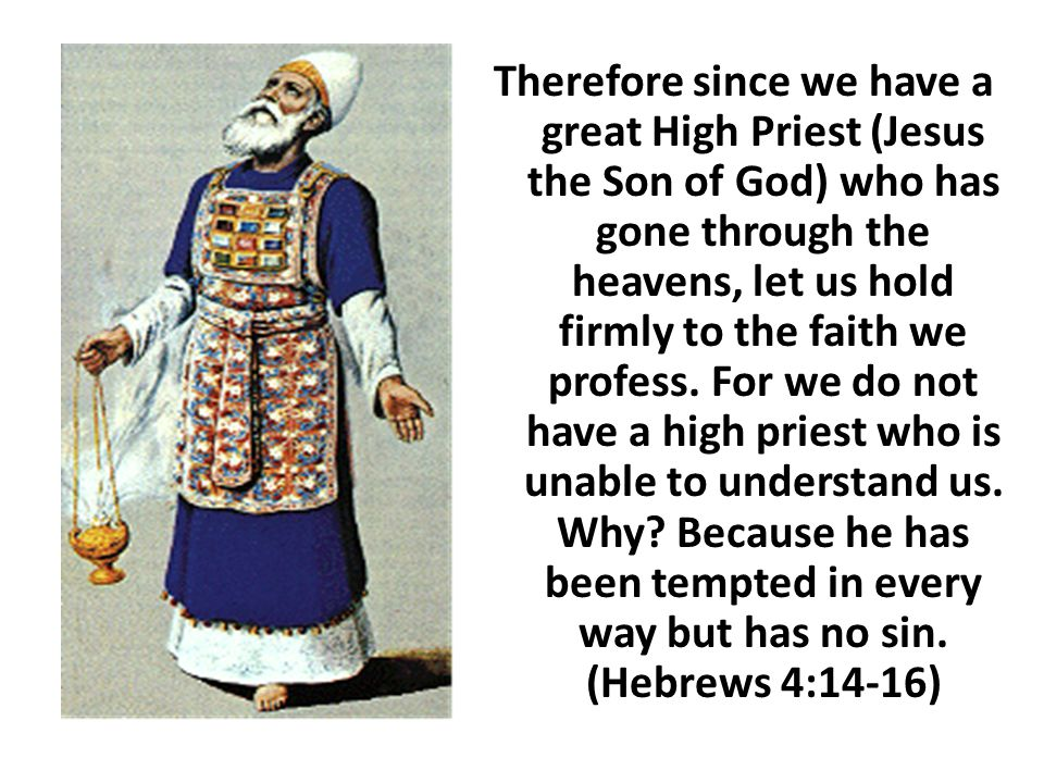 Therefore since we have a great High Priest (Jesus the Son of God) who has gone through the heavens, let us hold firmly to the faith we profess.