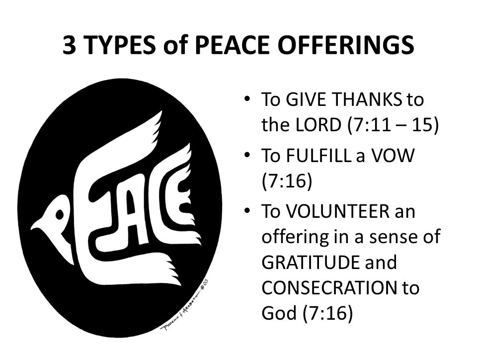 3 TYPES of PEACE OFFERINGS