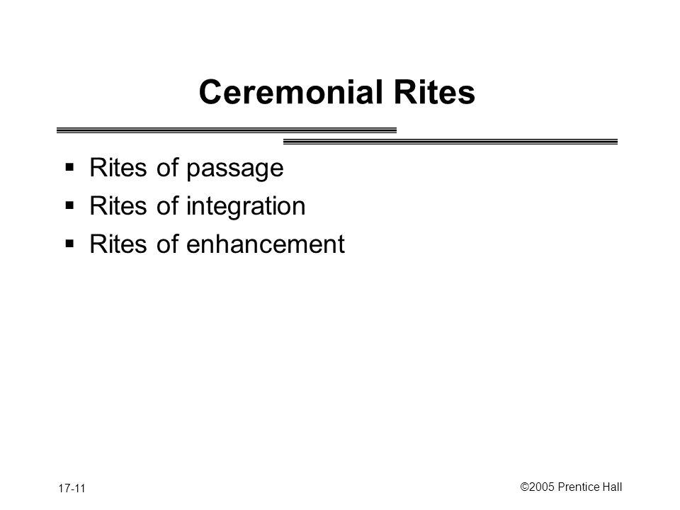Ceremonial Rites Rites of passage Rites of integration
