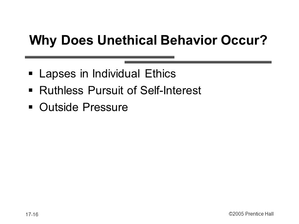Why Does Unethical Behavior Occur