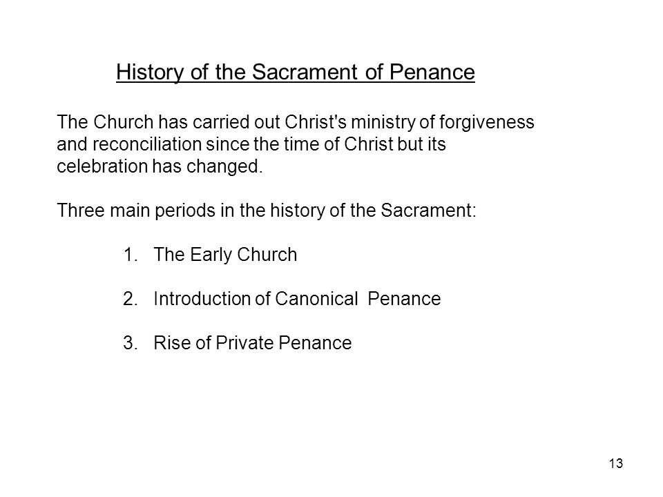 History of the Sacrament of Penance
