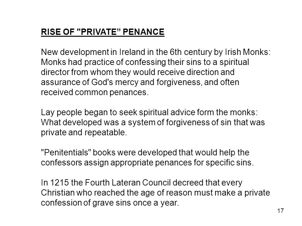RISE OF PRIVATE PENANCE