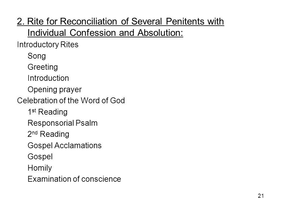 2. Rite for Reconciliation of Several Penitents with Individual Confession and Absolution: