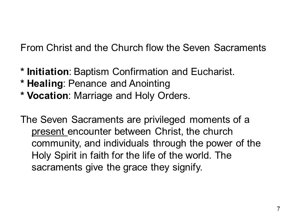 From Christ and the Church flow the Seven Sacraments
