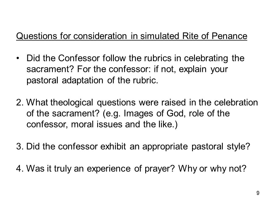 Questions for consideration in simulated Rite of Penance