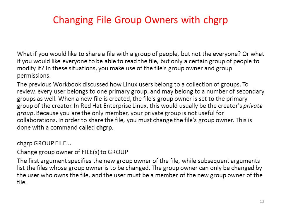 Changing File Group Owners with chgrp