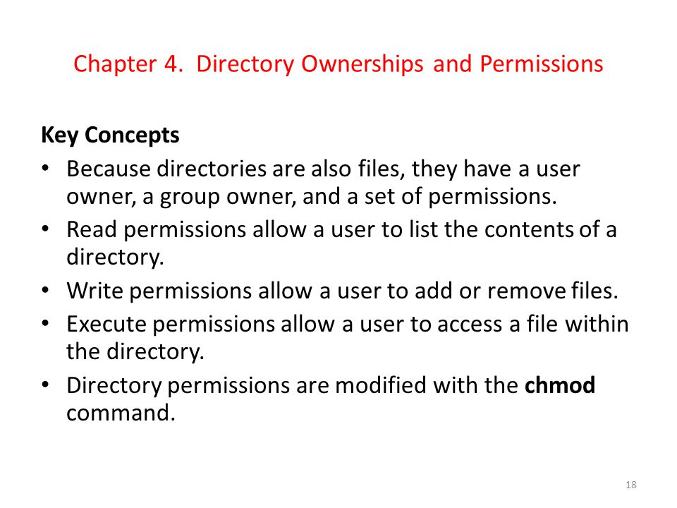 Chapter 4. Directory Ownerships and Permissions