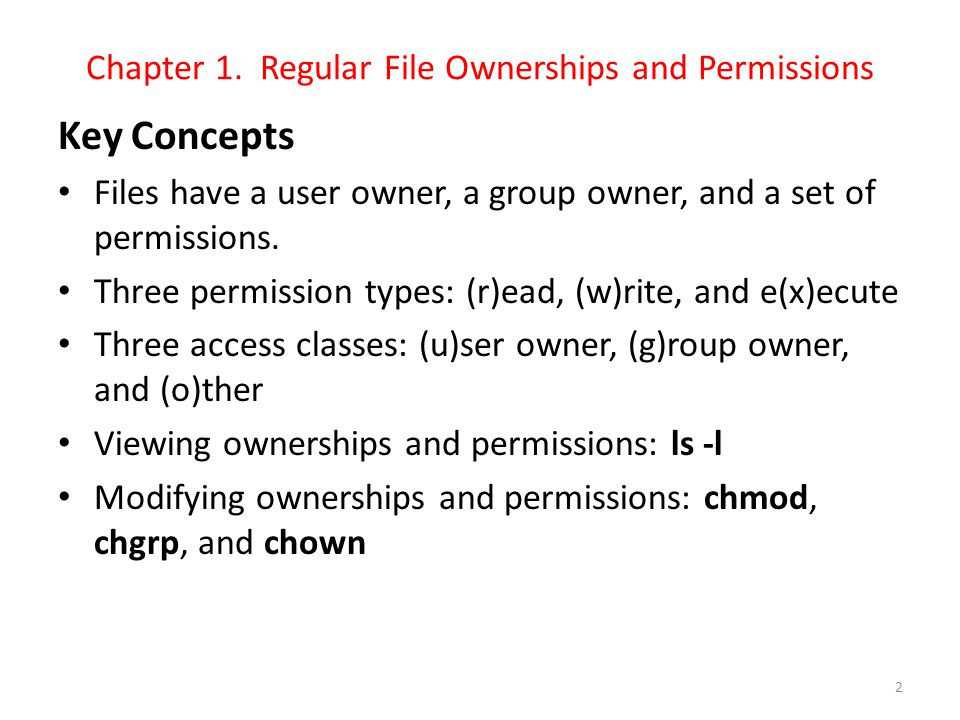 Chapter 1. Regular File Ownerships and Permissions