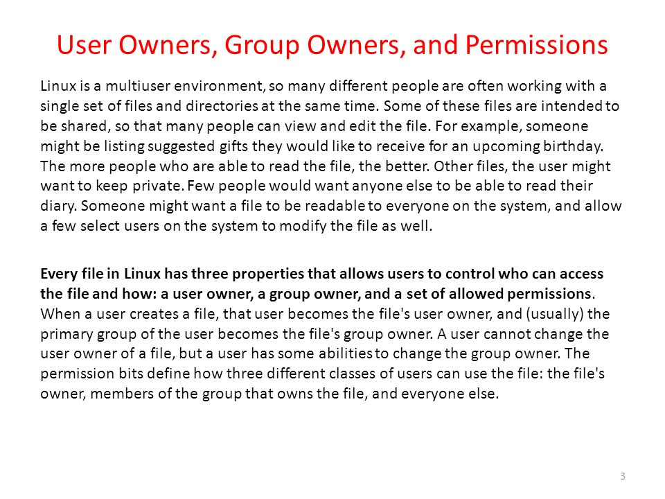 User Owners, Group Owners, and Permissions