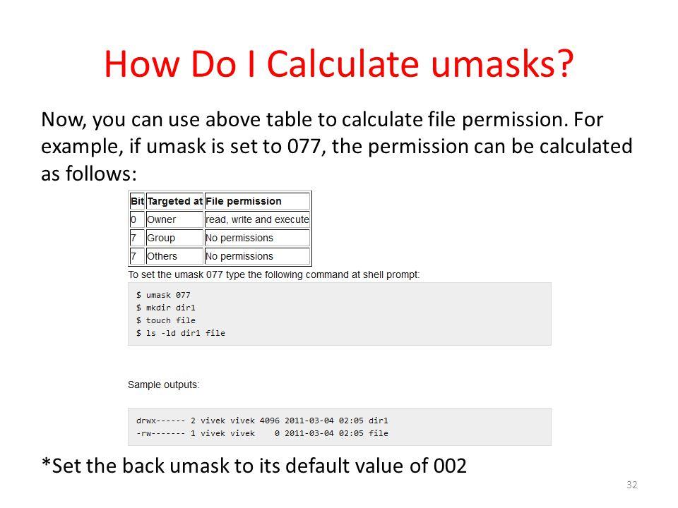 How Do I Calculate umasks