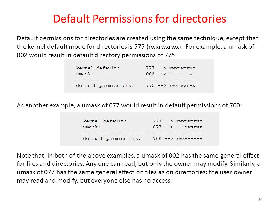 Default Permissions for directories