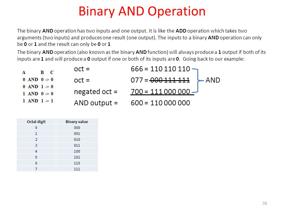 Binary AND Operation oct = 666 = 110 110 110