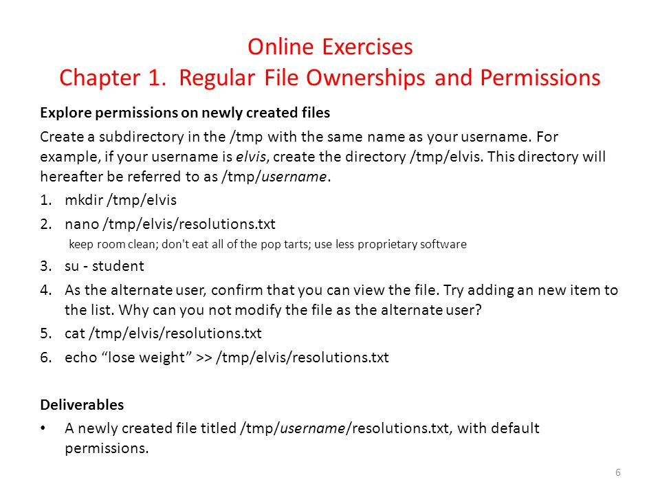 Online Exercises Chapter 1. Regular File Ownerships and Permissions