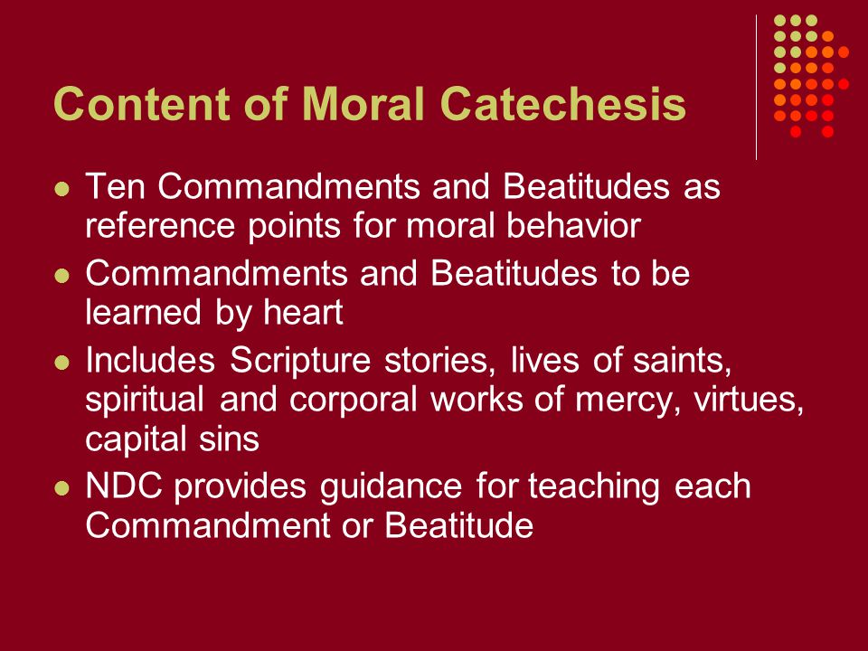 Content of Moral Catechesis