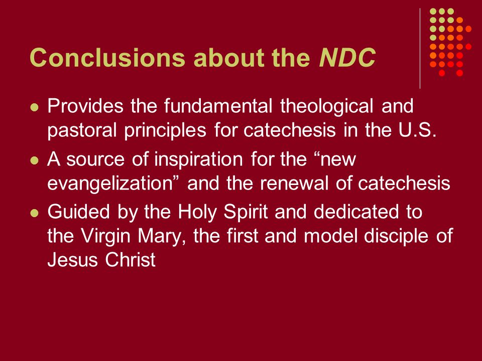 Conclusions about the NDC