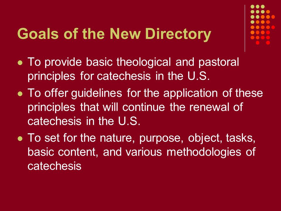 Goals of the New Directory