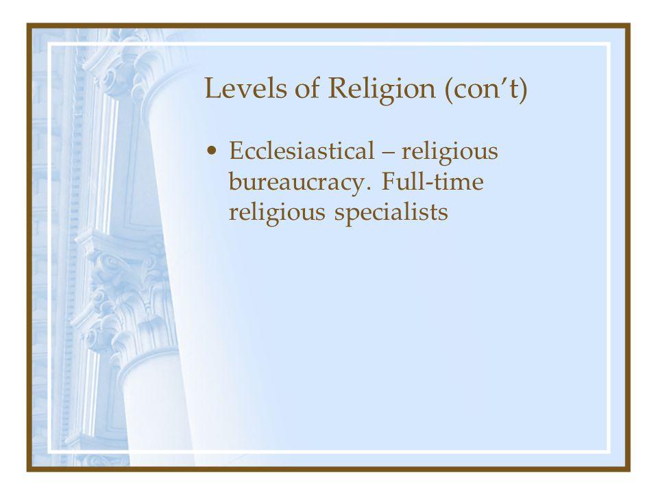 Levels of Religion (con't)