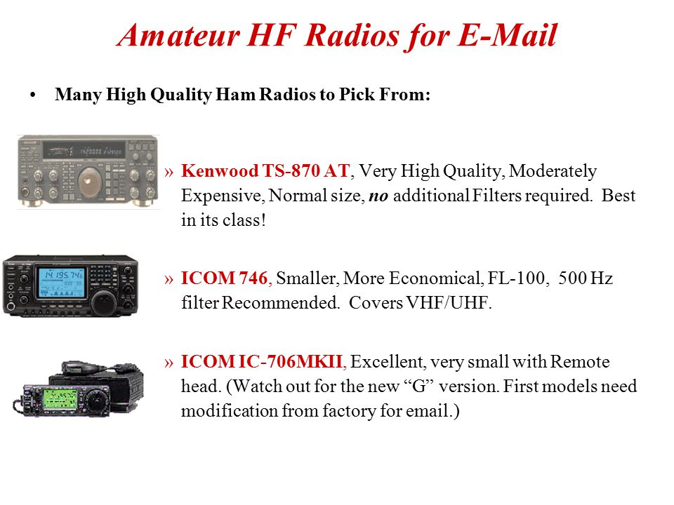 Amateur HF Radios for E-Mail
