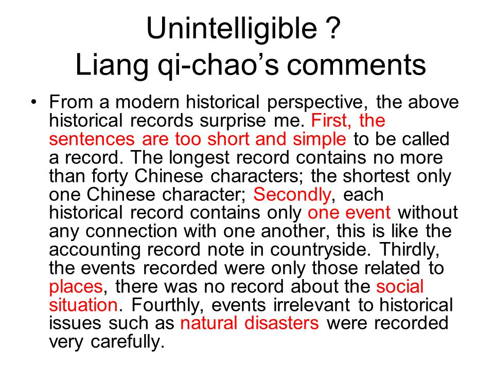 Unintelligible? Liang qi-chao's comments