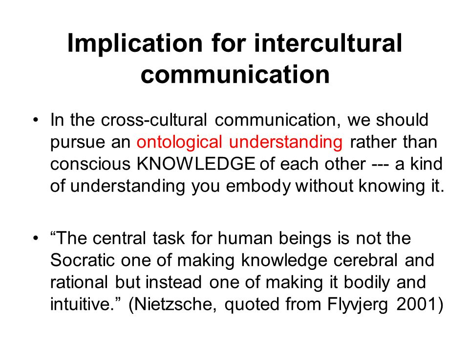 Implication for intercultural communication