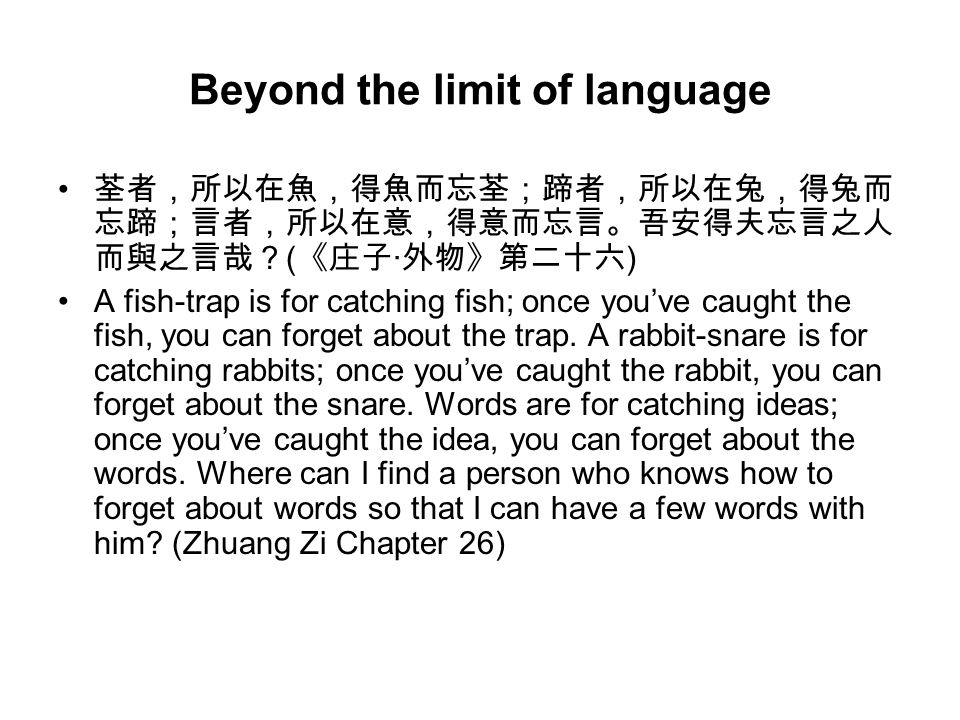 Beyond the limit of language