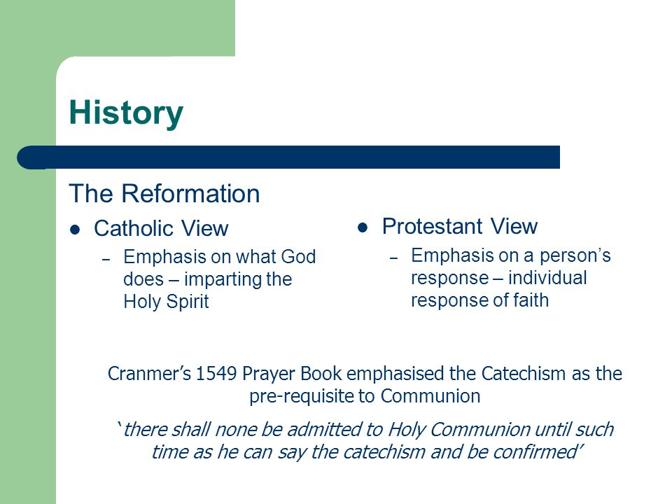History The Reformation Catholic View Protestant View