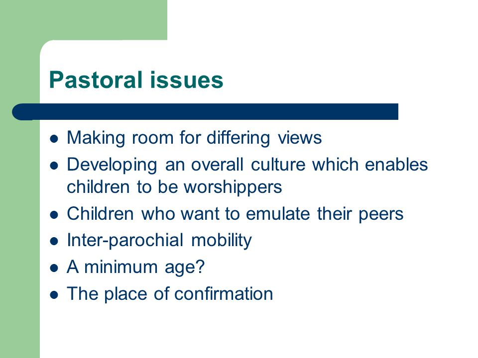 Pastoral issues Making room for differing views