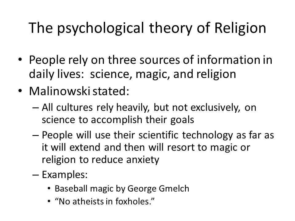 The psychological theory of Religion