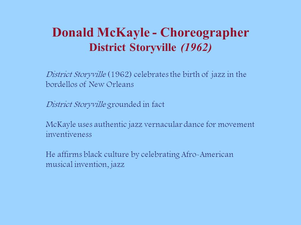 Donald McKayle - Choreographer District Storyville (1962)