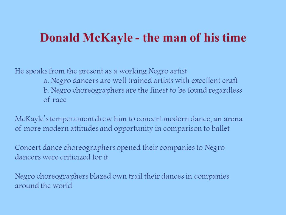 Donald McKayle - the man of his time