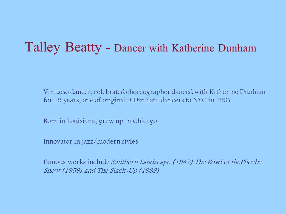 Talley Beatty - Dancer with Katherine Dunham