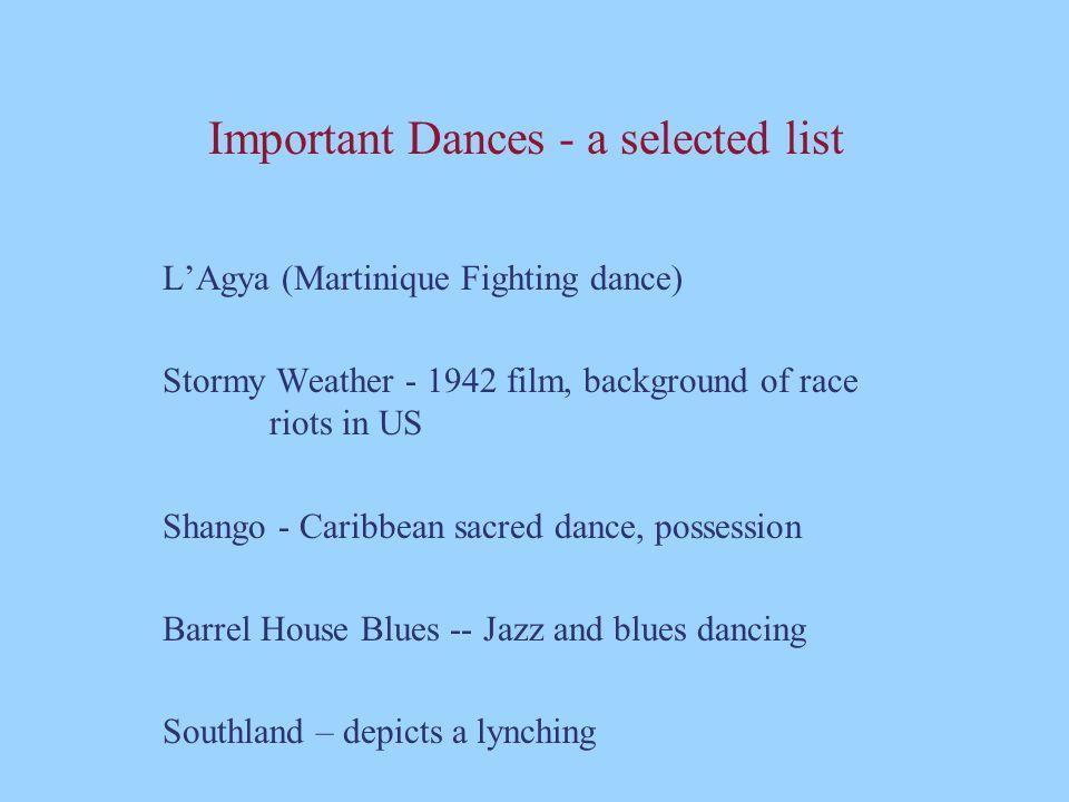 Important Dances - a selected list