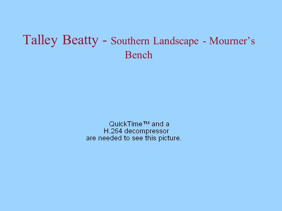 Talley Beatty - Southern Landscape - Mourner's Bench